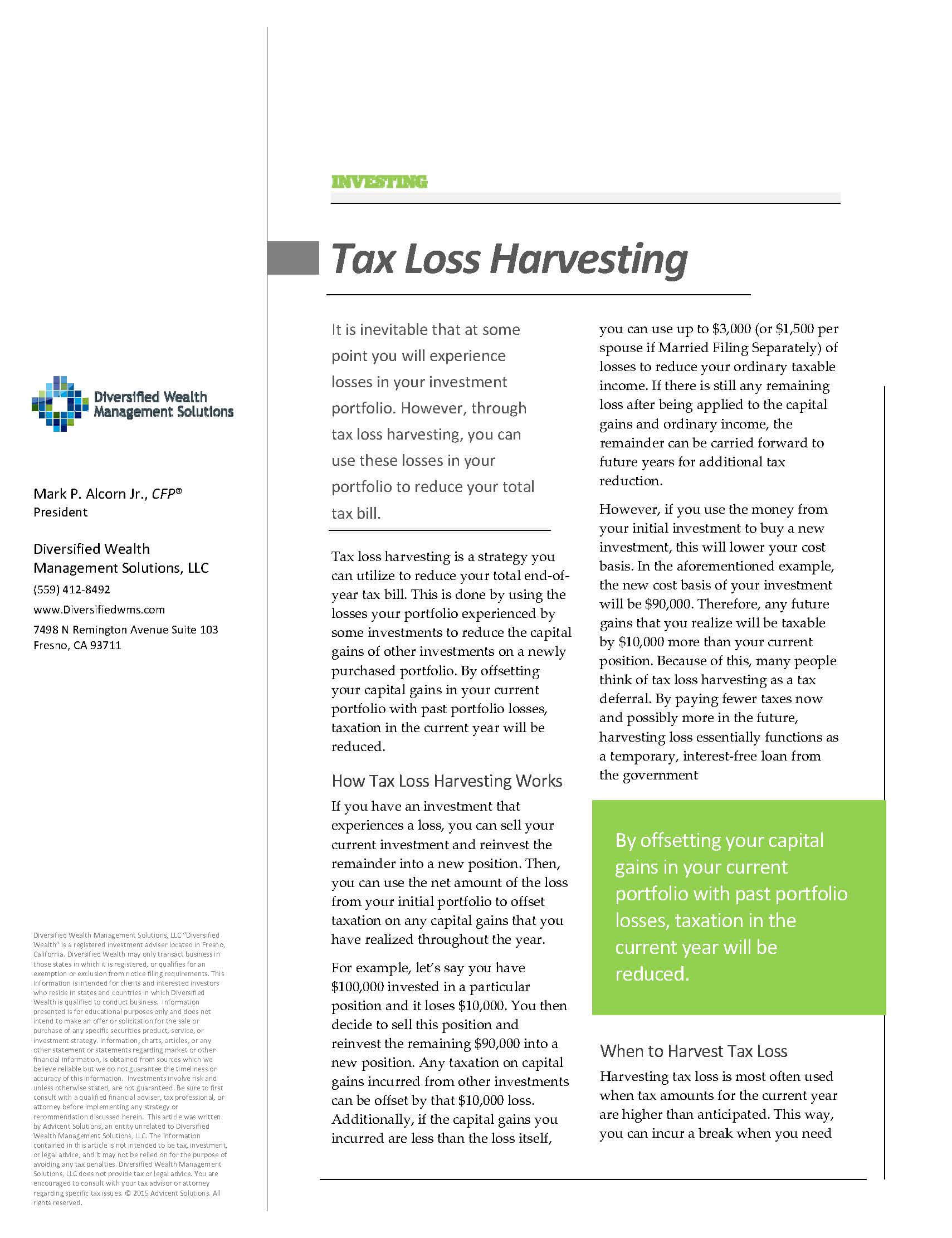 Tax Loss Harvesting - Diversified Wealth Management Solutions